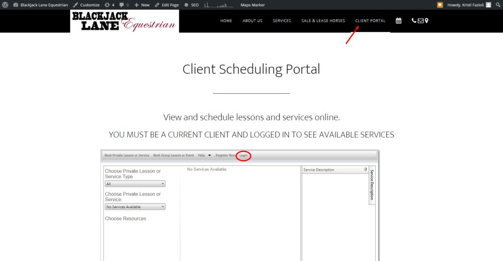 Client Scheduling Portal Blackjack Lane Equestrian